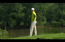 Golfer Zach Johnson is Surprised by an Air cannon at the John Deere Classic